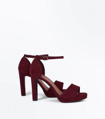 Burgundy Comfort Suedette Block Heel Sandals New Look