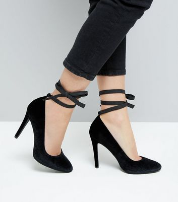 Black Velvet Tie Up Court Heels New Look