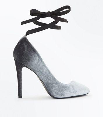 Grey Velvet Ombre Tie Up Court Heels New Look