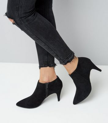 Black Suedette Cone Heel Shoe Boots New Look
