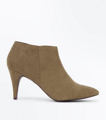 Khaki Suedette Cone Heel Shoe Boots New Look