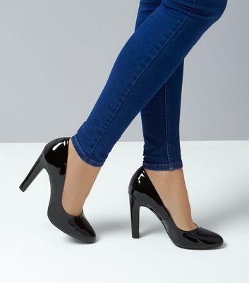 Black Patent Block Heel Court Shoes New Look