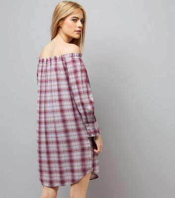 Red Check Bardot Neck Dress New Look