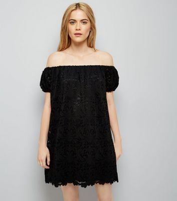 Black Lace Bardot Mini Dress New Look