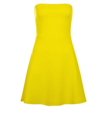 Yellow Bandeau Skater Dress New Look