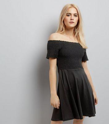 Black Shirred Bardot Neck Skater Dress New Look