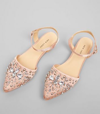 Pink Satin Embellished Pointed Pumps New Look