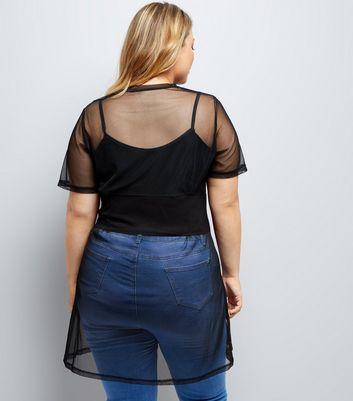 Curves Black Mesh Corset T-Shirt Dress New Look