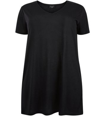 Curves Black Marl Oversized T-Shirt New Look