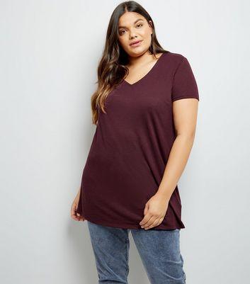 Curves Burgundy Boyfriend T-Shirt New Look