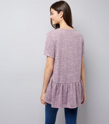 Pink Peplum Hem T-Shirt New Look