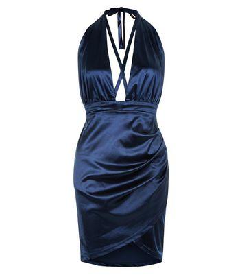 AX Paris Navy Satin Halter Neck Wrap Dress New Look