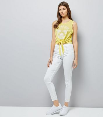 Yellow Island Vibes Knot Front Vest Top New Look