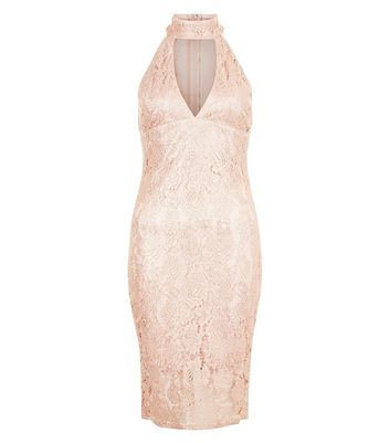 AX Paris Shell Pink Lace Choker Neck Dress New Look