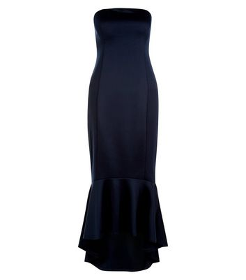 AX Paris Navy Strapless Fish Tail Dress New Look