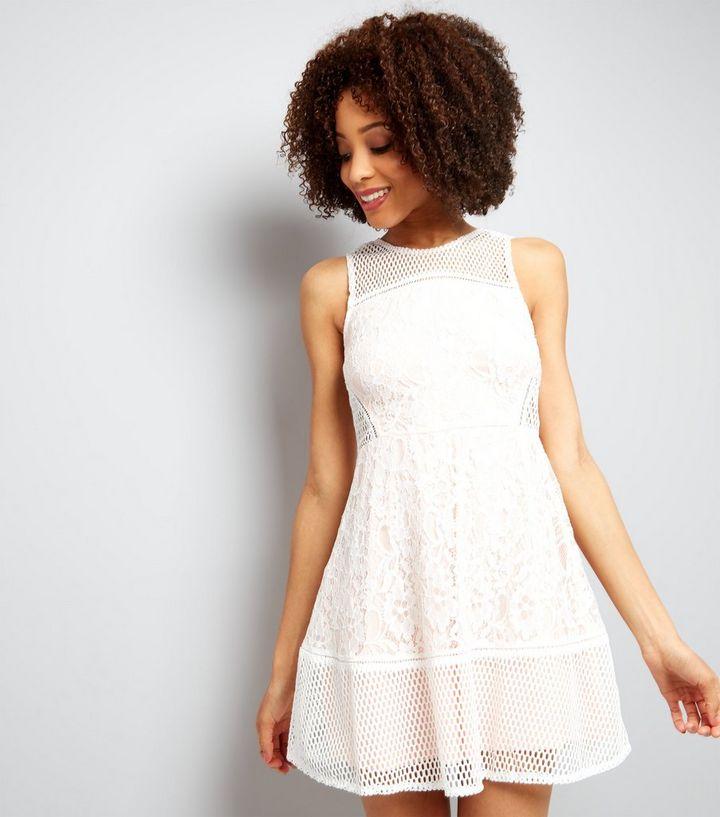 356658173 AX Paris Cream Mesh And Lace Skater Dress