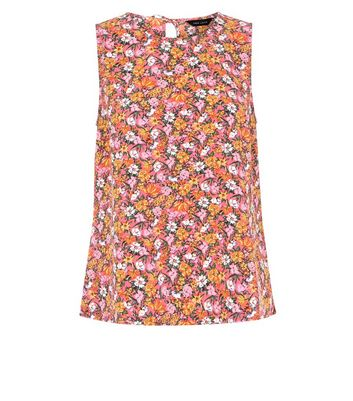 Pink Floral Print Tie Back Sleeveless Top New Look