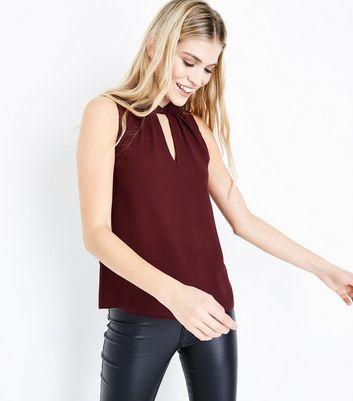 Burgundy Twist Choker Neck Top New Look