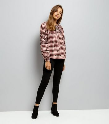 Red Embroidered Gingham Long Sleeve Top New Look