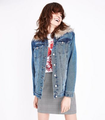 Blue Faux Fur Collar Denim Jacket New Look