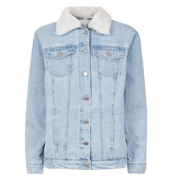 Pale Blue Faux Fur Lined Denim Jacket New Look