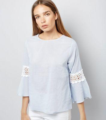 Blue Stripe Crochet Trim Bell Sleeve Top New Look