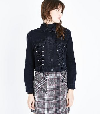 Black Lace Up Front Detail Denim Jacket New Look