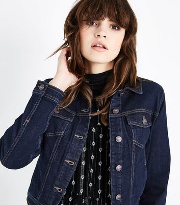 Dark Blue Contrast Stitch Denim Jacket New Look
