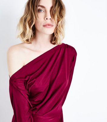 AX Paris Burgundy Wrap Skirt Dress New Look