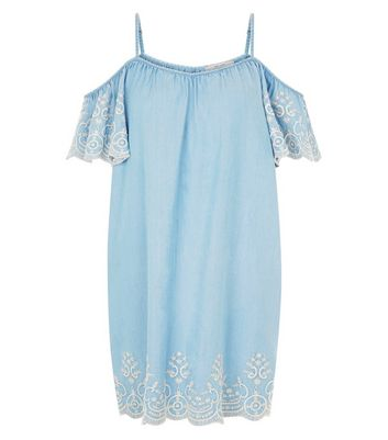 Blue Lace Embroidered Hem Cold Shoulder Dress New Look