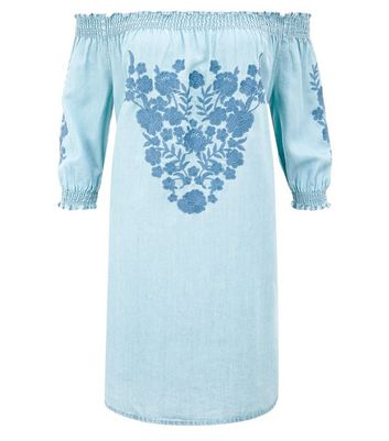 Blue Embroidered Bardot Neck Dress New Look