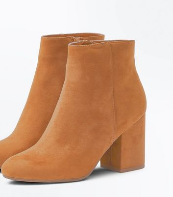 Tan Suedette Block Heel Boots New Look