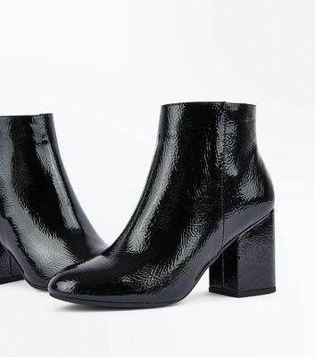 Black Patent Block Heel Ankle Boots