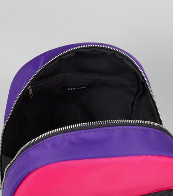 Pink Neon Colour Block Backpack New Look