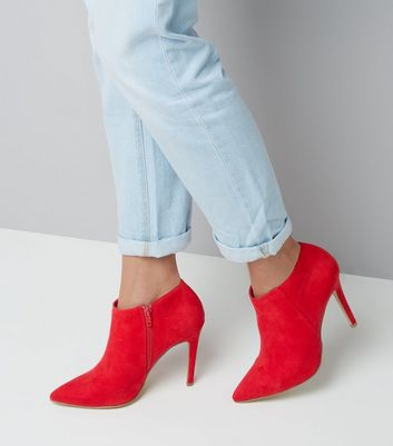Red Suedette Stiletto Heel Pointed Shoe Boots New Look