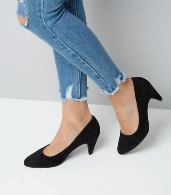Black Comfort Cone Heel Court Shoes New Look