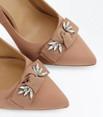 Pink Satin Embellished Bow Court Shoes New Look