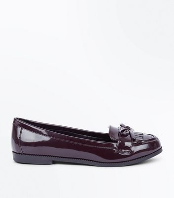 Wide Fit Burgundy Patent Bow Loafers New Look