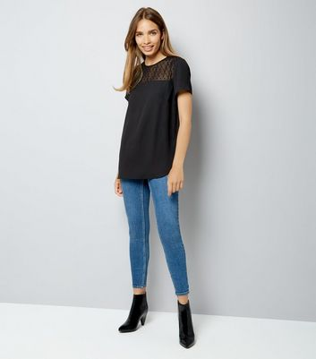 Black Spot Mesh Yoke Dip Hem Top New Look