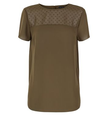 Khaki Spot Mesh Yoke Dip Hem Top New Look