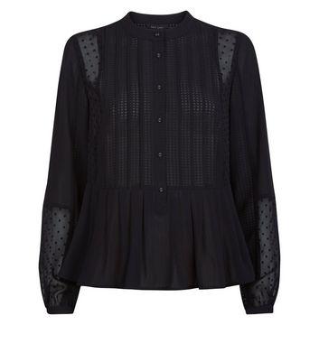 Black Grandad Collar Peplum Hem Blouse New Look