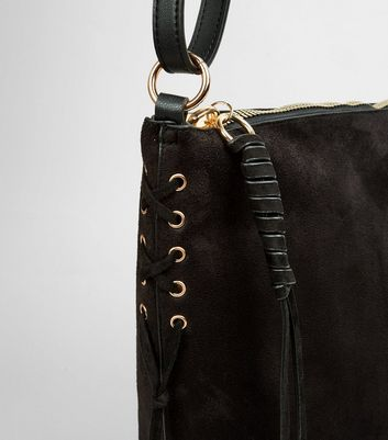 Black Suedette Lace Up Side Bucket Bag New Look