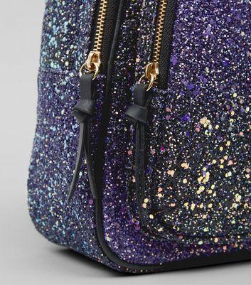 Purple Glitter Mini Backpack New Look
