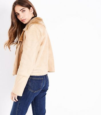 Blue Vanilla Camel Faux Shearling Cropped Jacket New Look