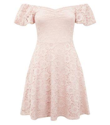 Pink Lace Bardot Neck Skater Dress New Look