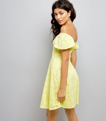 Yellow Lace Bardot Neck Skater Dress New Look
