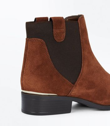 Tan Suedette Metallic Trim Chelsea Boots New Look
