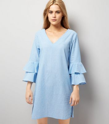 Blue Stripe V Neck Frill Sleeve Tunic Dress New Look
