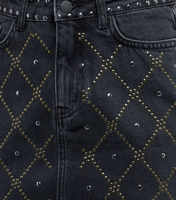 Black Diamond Studded Denim Skirt New Look