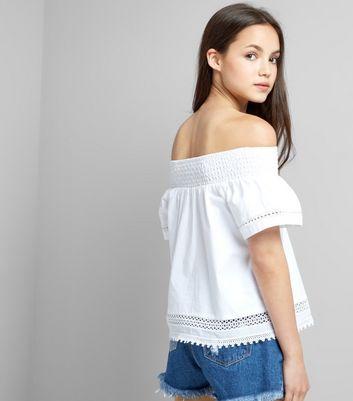 Teens White Crochet Bardot Neck Top New Look